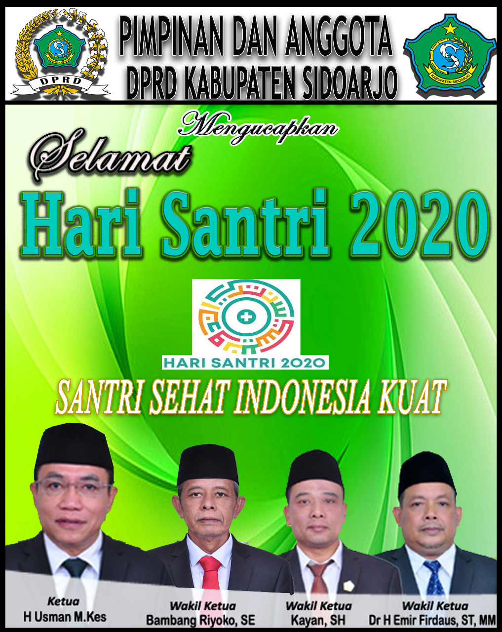 Pimpinan dan Anggota DPRD Sidoarjo Mengucapkan Selamat Hari Santri 2020