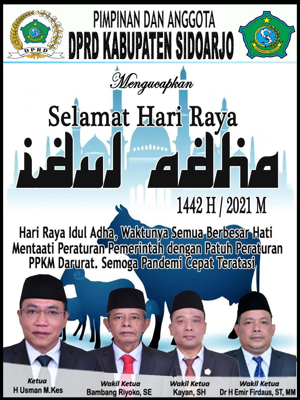 Pimpinan dan Anggota DPRD Sidoarjo Mengucapkan Selamat Hari Raya Idul Adha 1442 Hijriyah
