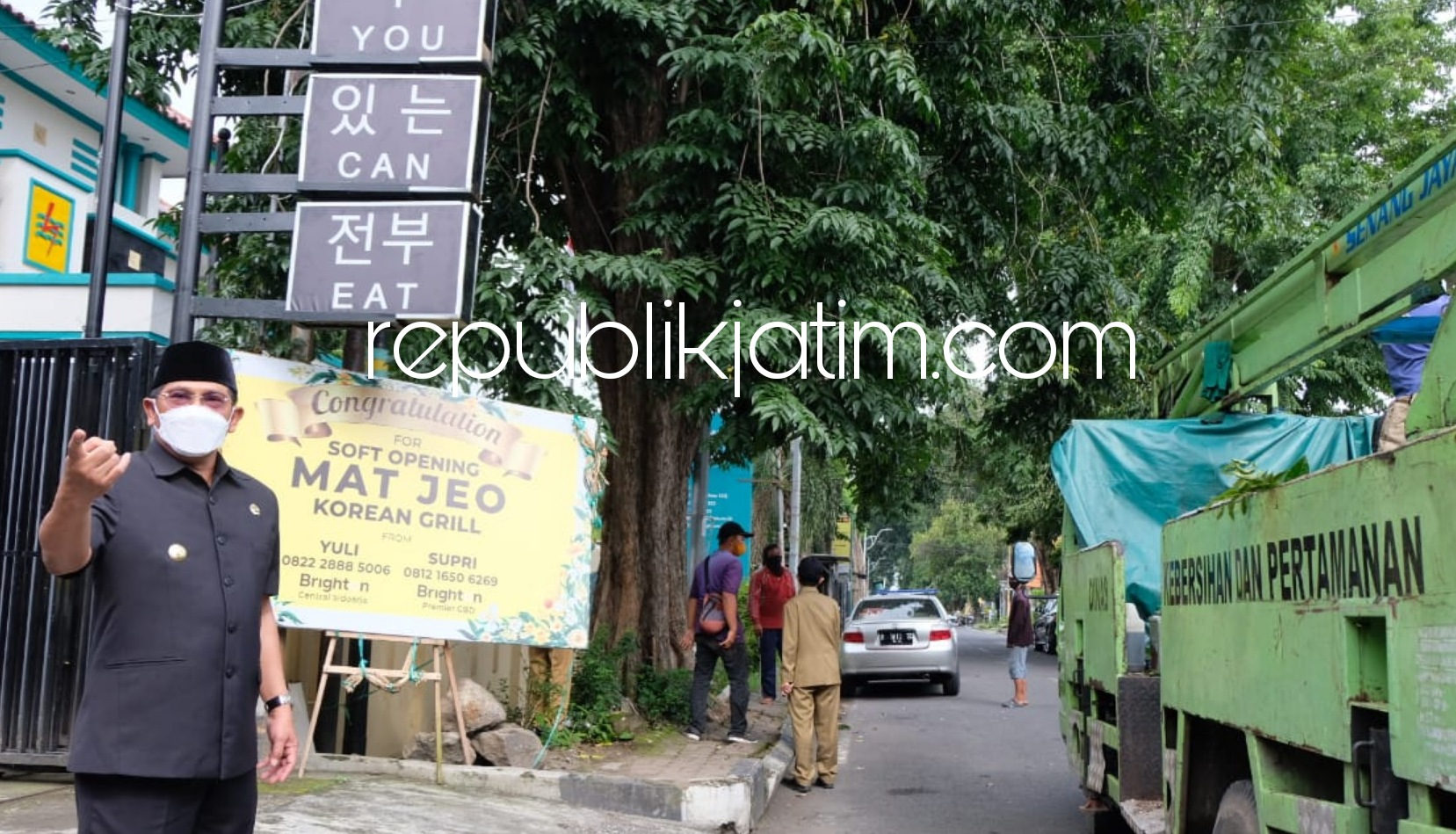Rawan Roboh, Dua Pohon Sono Tua di Depan Kantor PLN Sidoarjo Ditebang Petugas DLHK