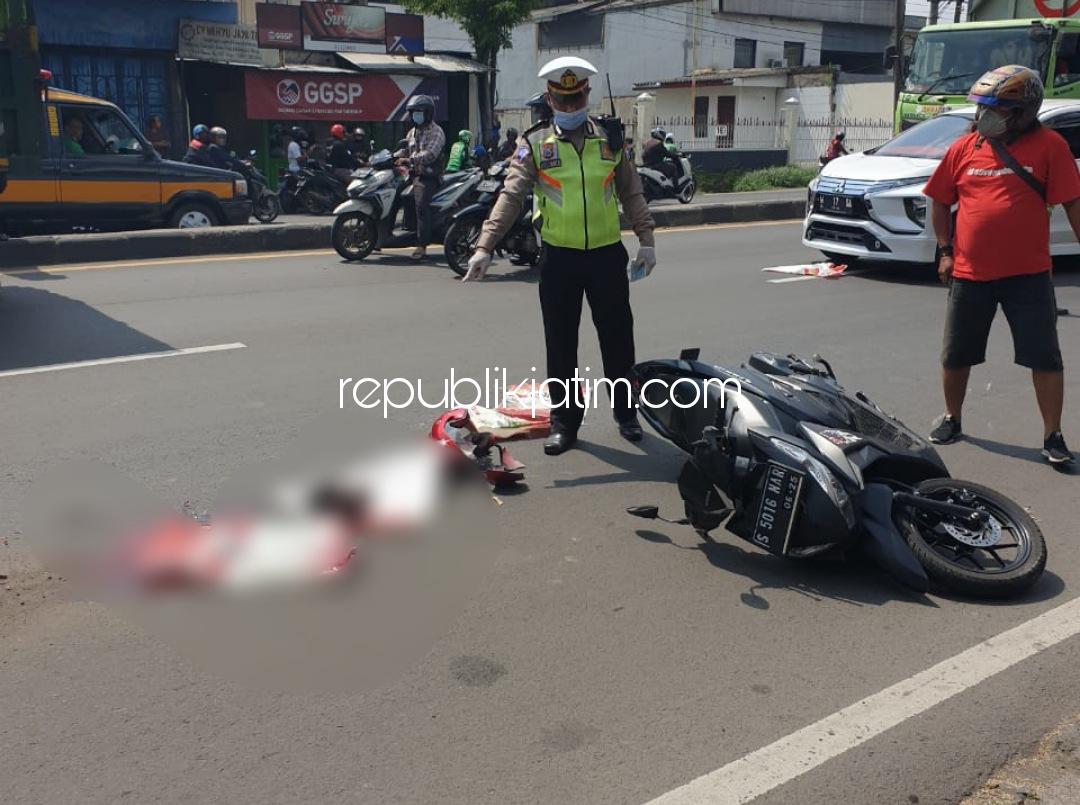 Pengendara Motor Asal Pacet Tewas Terlindas Truk Gandeng di JL Raya Taman Sidoarjo