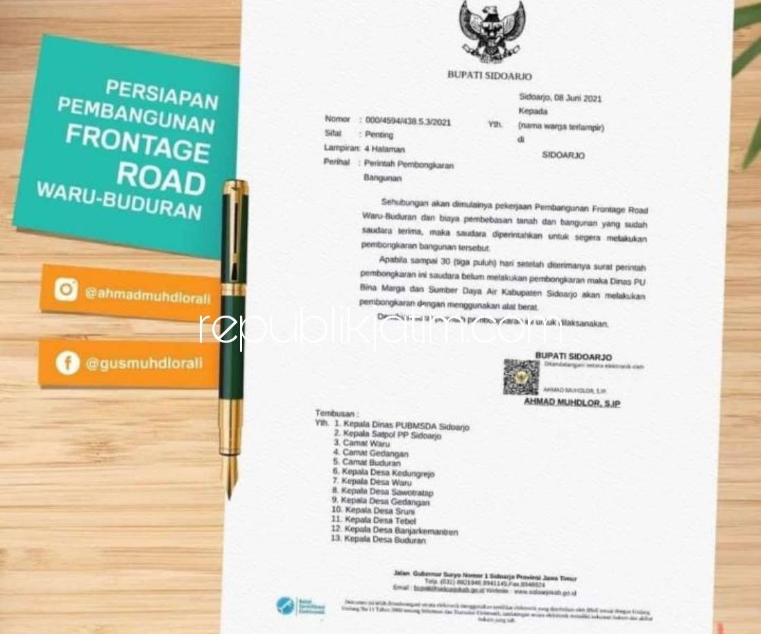 Bupati Perintahkan 148 Warga Bongkar Bangunan Miliknya, Proyek Frontage Road Waru - Buduran Dilanjutkan