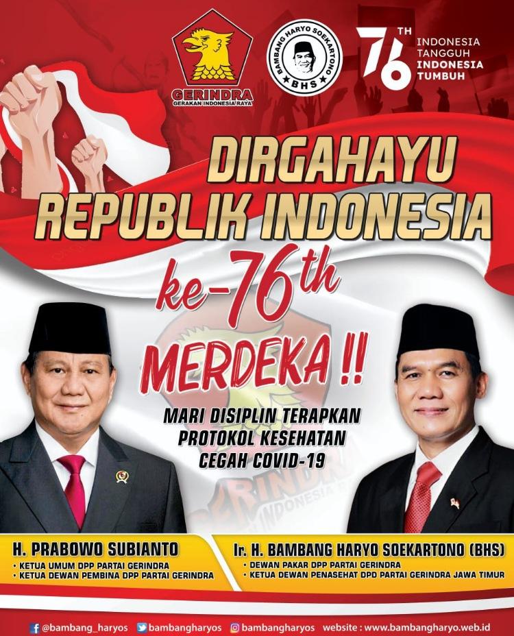 Dewan Pakar DPP Partai Gerindra, Bambang Haryo Soekartono Mengucapkan Dirgahayu Republik Indonesia ke 76
