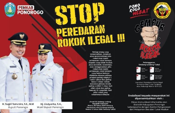 Pemkab Ponorogo dan Bea Cukai Madiun Mengajak Masyarakat Stop Peredaran Rokok Ilegal