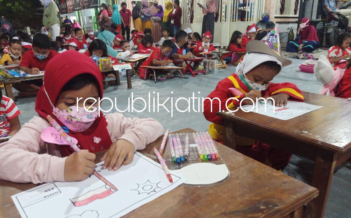 Isi Kemerdekaan RI, Puluhan Anak-Anak Kraton Krian Ramaikan Lomba Menggambar dan Mewarnai