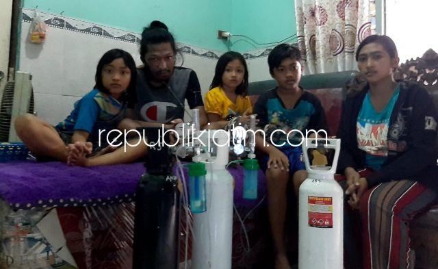 Tak Bisa Andalkan BPJS, Suami Terserang Paru-Paru Ibu 3 Anak di Krian Harus Beli 5 Tabung Oksigen Per Hari