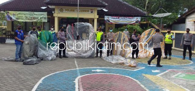 Polisi Ponorogo Amankan Empat Balon Udara Berukuran Besar Dilengkapi Mercon