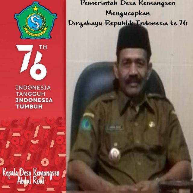 Pemerintah Desa Kemangsen, Kecamatan Balongbendo Mengucapkan Dirgahayu Republik Indonesia ke 76