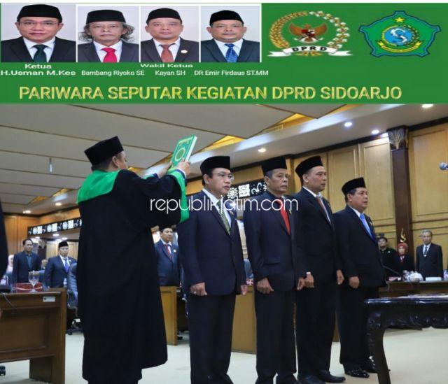 Empat Pimpinan DPRD Sidoarjo Diambil Sumpah, 7 Fraksi Diumumkan Segera Bentuk AKD