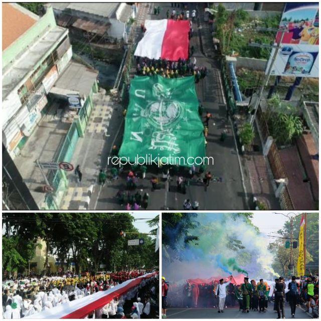 Bendera Merah Putih Sepanjang 1.000 Meter Dikirab dalam HSN V di Sidoarjo